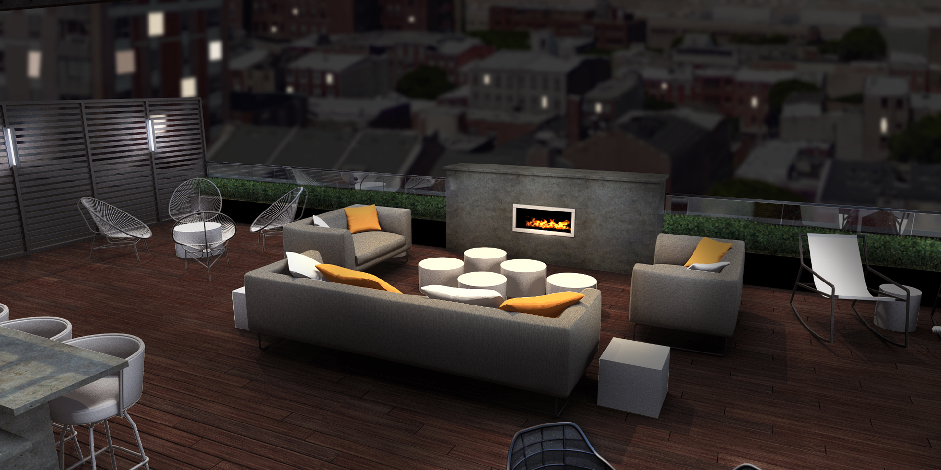 Rooftop Seating Area with Couches and Fireplace at The National