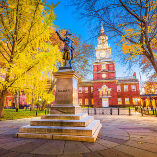 Historical statue in front of Independence Hall in Old City, Philadelphia