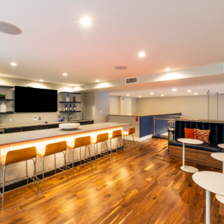 The National's large resident clubhouse with communal kitchen and lounge in Old City