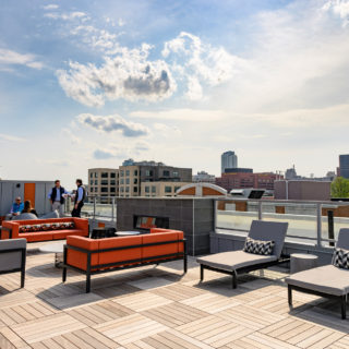 rooftop of The National apartments with stunning view of Old City, Philadelphia